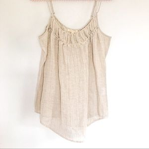 {Eileen Fisher} Tan Linen Cami Top Size PM